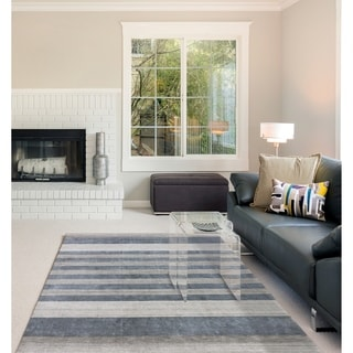Hand-woven Berkley Grey Blended New Zealand Wool and Art Silk Area Rug (4' x 6')