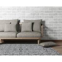 Hand-tufted Ezekiel Grey Blended New Zealand Wool Area Rug - 5' x 8'