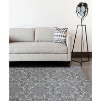 Hand-tufted Ezekiel Dove Grey Blended New Zealand Wool Area Rug - 5' x 8'