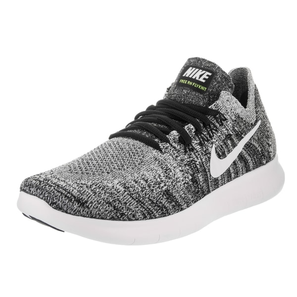 823d3415a7c75 Nike Women  x27 s Free Run Flyknit 2017 Black and White Volt Running Shoes