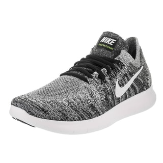 Nike Women's Free Run Flyknit 2017 Black and White Volt Running Shoes