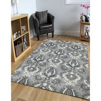 Hand-tufted Ezekiel Grey Blended New Zealand Wool Area Rug - 7'6 x 9'6