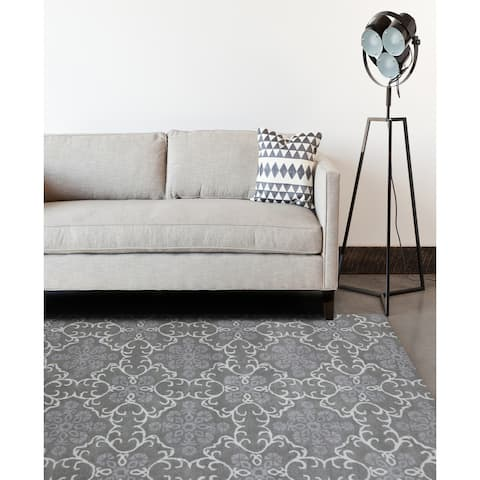 "Hand-tufted Ezekiel Dove Grey Blended New Zealand Wool Area Rug (7'6 x 9'6) - 7'6"" x 9'6"""