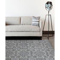 Hand-tufted Ezekiel Dove Grey Blended New Zealand Wool Area Rug (7'6 x 9'6) - 7'6 x 9'6
