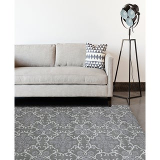 Hand-tufted Ezekiel Dove Grey Blended New Zealand Wool Area Rug (8' x 11')