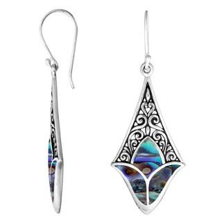 Handmade Sterling Silver Bali Filigree Tulip Gemstone Dangle Earrings (Indonesia)