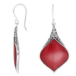 Handmade Sterling Silver Bali Filigree Teardrop Gemstone Dangle Earrings (Indonesia)