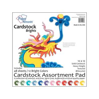 Cardstock Pad 12x12 48pc Bright Assortment