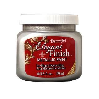 Decoart Elegant Finish Paint 10oz Met Shimmer Silv