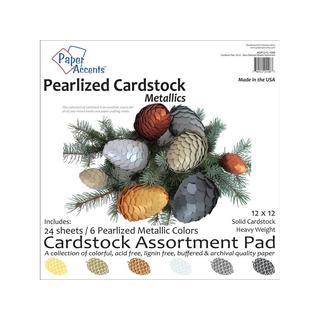 Cardstock Pad 12x12 24pc Metallic Pearlized Ast