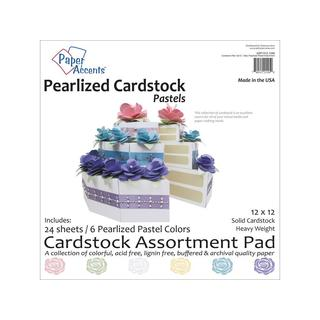 Cardstock Pad 12x12 24pc Pastel Pearlized Ast