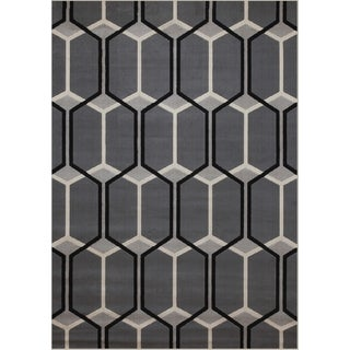 Barrett Grey/Black/Ivory Area Rug by Greyson Living (7'9 x 10'6)