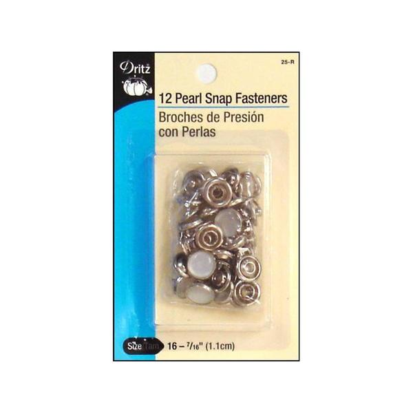 Dritz Pearl Snap Fasteners Size 16 White 12pc