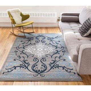 Well Woven Filigree Modern French Iron Medallion Scrolls Area Rug (3'3'' x 5' )