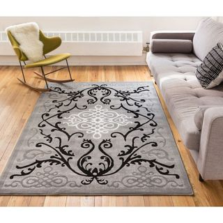 Well Woven Filigree Modern Iron Medallion Scrolls Area Rug - 5' x 7'