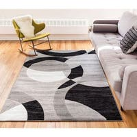 Well Woven Kryss Grey Modern Geometric Shapes Circles Area Rug - 5' x 7'