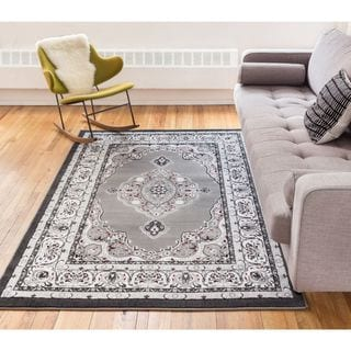 Well Woven Siglos Medallion Grey Traditional Formal Area Rug ( 5' x 7'2'' )