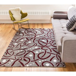 Well Woven Salida Red Modern Abstract Area Rug (7'10 x 9'10 )
