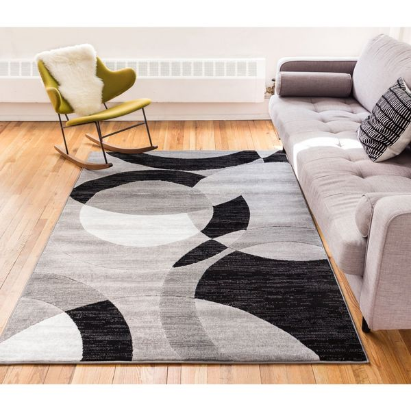 Well Woven Kryss Grey Modern Geometric Shapes Circles Area Rug - 7'10 x 9'10
