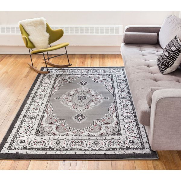 Well Woven Siglos Medallion Grey Traditional Formal Area Rug - 7'10 x 9'10