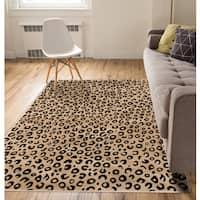 Well Woven Modern Leopard Beige Black Animal Print Area Rug - 7'10 x 9'10