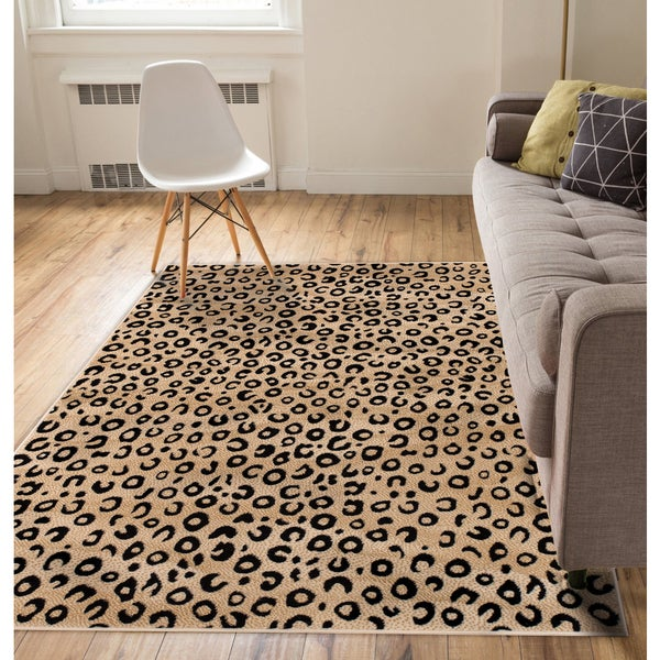 Well Woven Modern Leopard Beige Black Animal Print Area Rug - 7'10 x 9'10