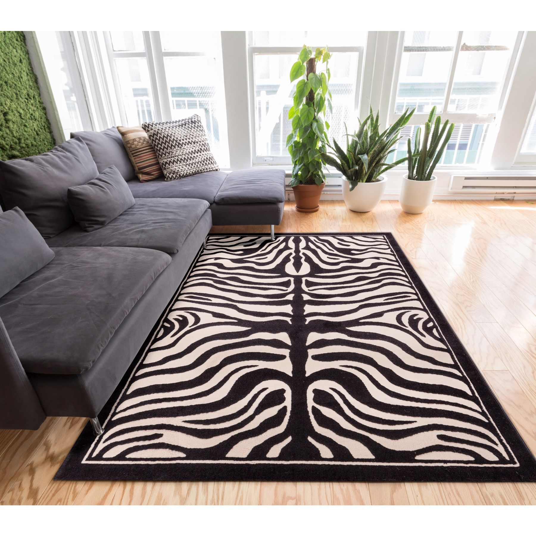 Well Woven Zebra Animal Print Black Beige Modern Area Rug - 93 x 126 (Ivory)