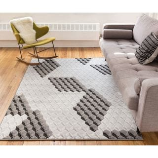 Well Woven Popup Black Modern 3D Dots And Boxes Area Rug (9'3 x 12'6 )
