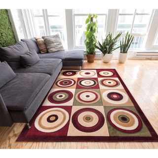 Well Woven Geometric Circles Modern Multi Red Area Rug (9'3 x 12'6 )
