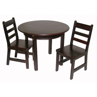 Lipper Espresso Round Table and Chair Set