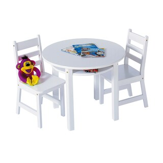 Lipper White Round Table and Chair Set