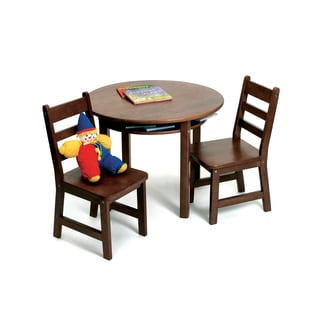 Lipper Walnut Round Table and Chair Set