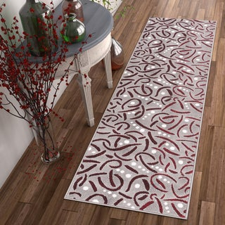 Well Woven Salida Red Modern Abstract Area Rug (2' x 7'3 Runner )