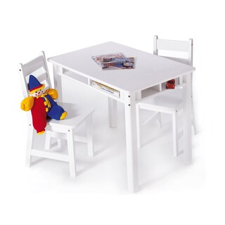 Lipper White Rectangular Table and Chair Set
