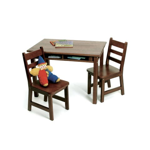 Lipper Walnut Rectangular Table and Chair Set - Brown/Multi