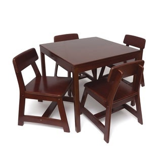 Lipper Children's Square Table and Chair Set, Cherry