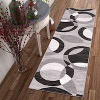 Well Woven Kryss Grey Modern Geometric Shapes Circles Area Rug - 2' x 7'3""