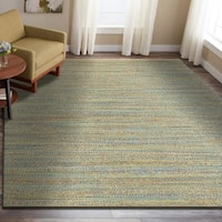 LR Home Hand Loomed Natural Fiber Sonora Blue/ Green Jute/Chenille Rug - 9' x 12'
