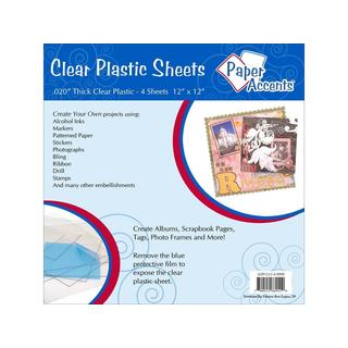 "Plastic Sheet 12x12 .020"" Clear 4pc"