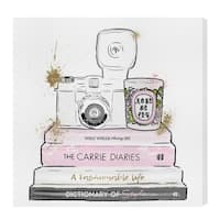 Oliver Gal 'Vintage Fashion Camera' Fashion and Glam Gallery Wrapped Canvas Art - pink, gold
