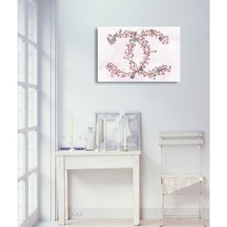 Oliver Gal 'Sakura Love Silver' Fashion and Glam Wall Art Canvas Print - Pink