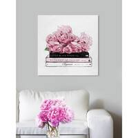 Oliver Gal 'Roses and Elegance Books' Fashion Florals Gallery Wrapped Canvas Art - pink, gray