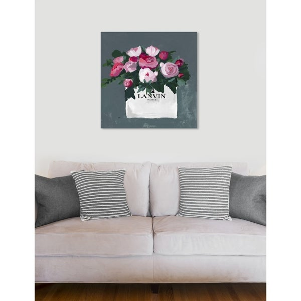 Oliver Gal 'Pink and White' Floral and Botanical Wall Art Print on Premium Canvas - pink, green