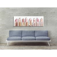 Oliver Gal 'Lipstick Shades' Fashion and Glam Gallery Wrapped Canvas Art - pink, gold