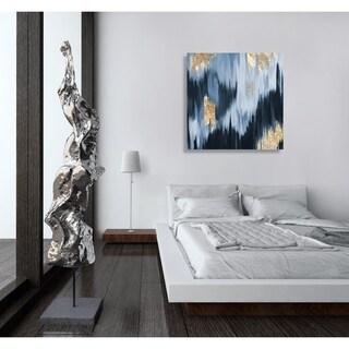 Oliver Gal 'Gold Blue Fall'Canvas Art - Grey