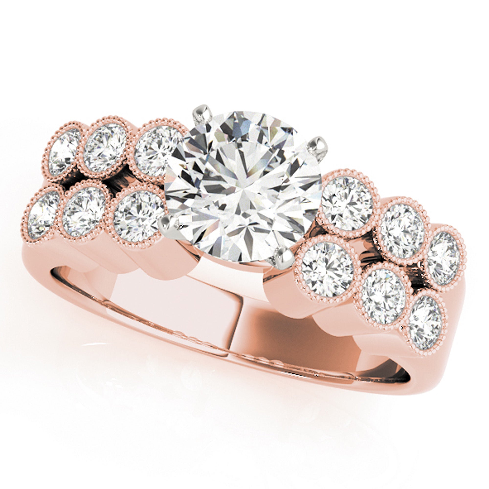 3 Diamond Promise Ring in 14K Pink Gold 1//10 cttw, Size-4.25 G-H,I2-I3