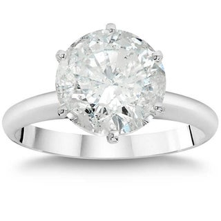14K White Gold 3ct TDW Clarity Enhanced Round Diamond Solitaire Engagement Ring