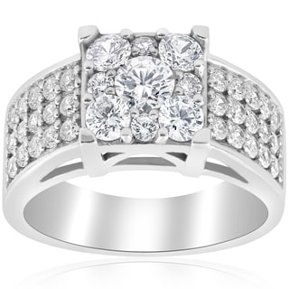 10K White Gold 1 5/8ct TDW Diamond Engagement Ring Square Framed Halo Pave Engagement Ring