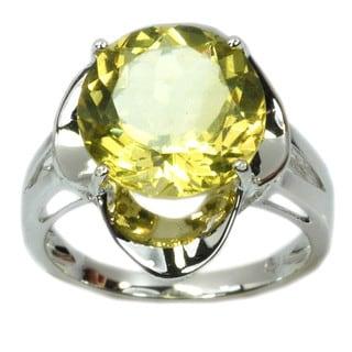 De Buman Sterling Silver Genuine Lemon Quartz Solid Ring, Size 7.75