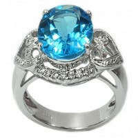 De Buman Sterling Silver Genuine Swiss Blue Topaz and Cubic Zirconia Ring Size 7.25